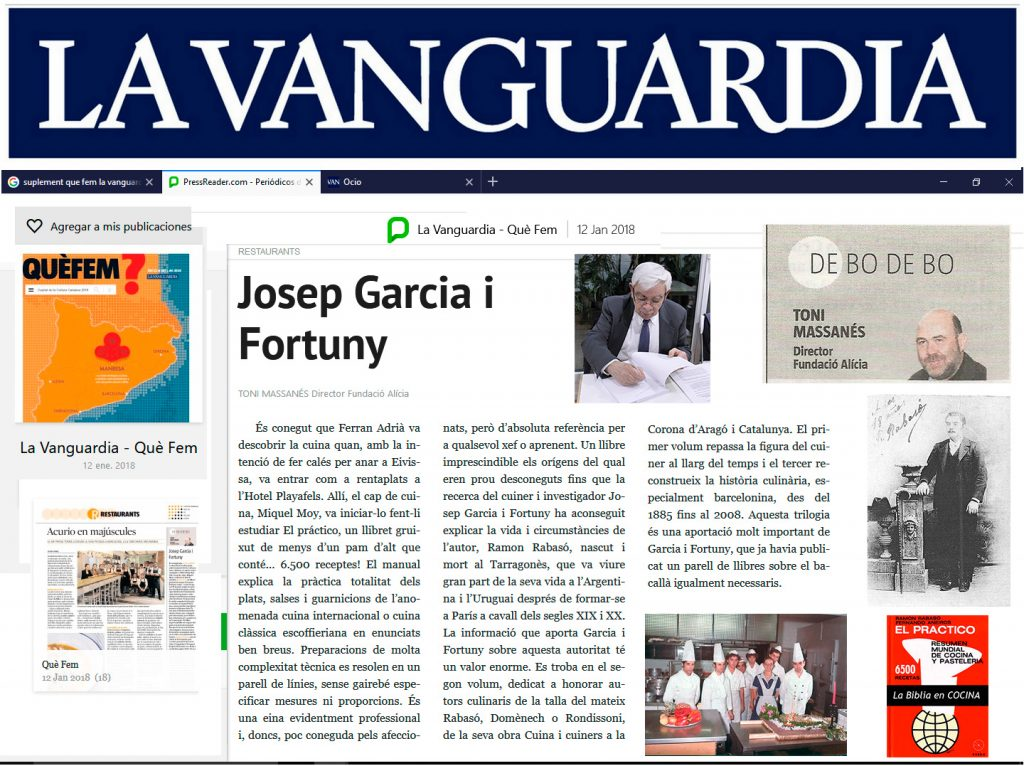Article a diari La Vaguardia de Toni Massanés - Director de la Fundació Alicia